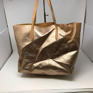 Express Rose Gold Metallic Faux Leather Pure Tote